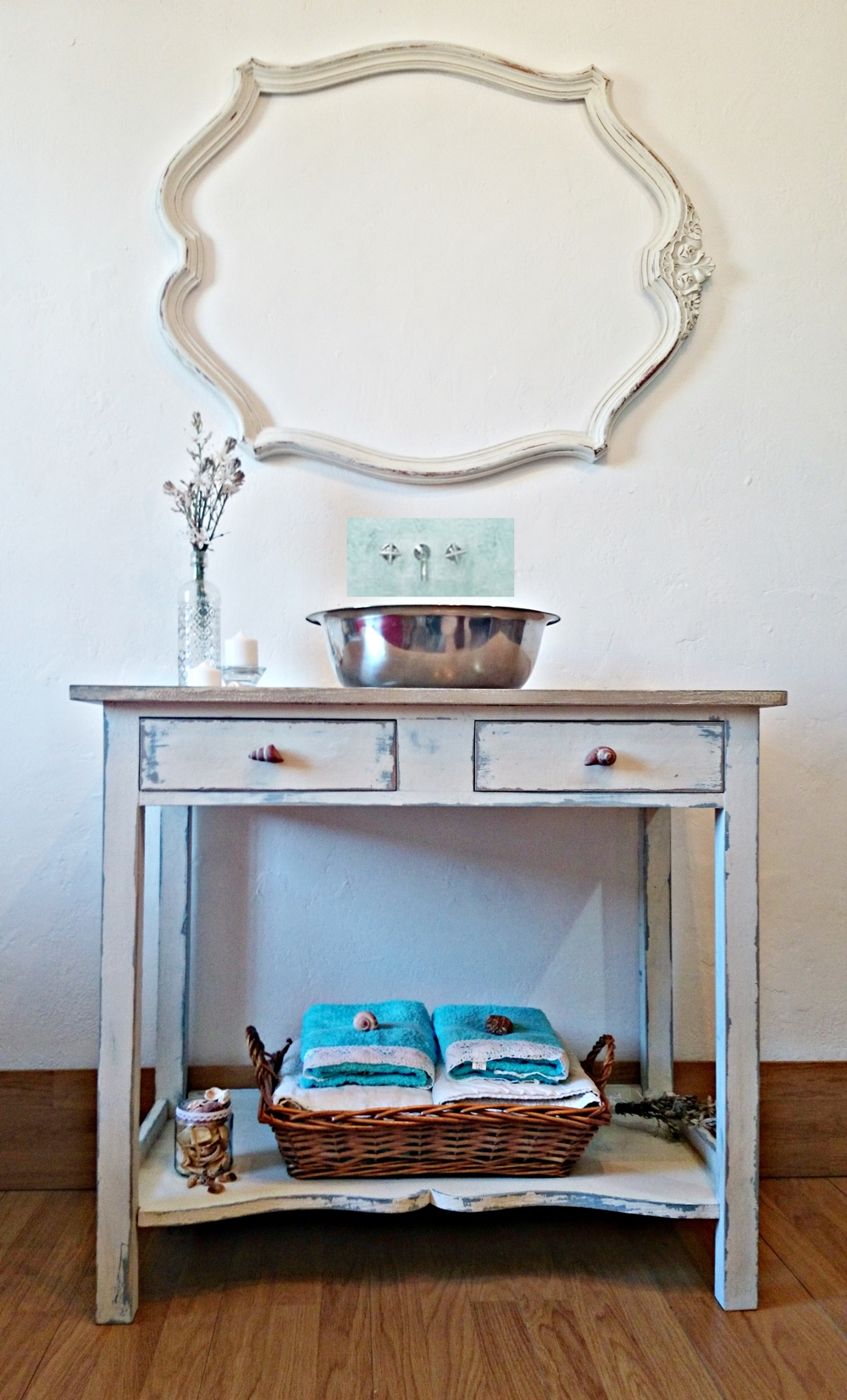 Mueble de ba o shabby chic artesanal tienda online de decoraci n y muebles personalizados - Mueble de bano antiguo ...