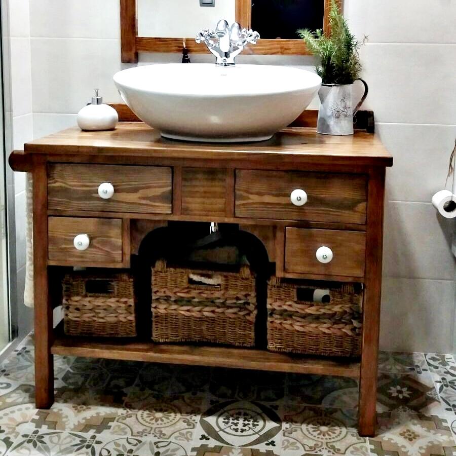 Mueble de ba o r stico personalizado a medida tienda - Mueble recibidor rustico ...
