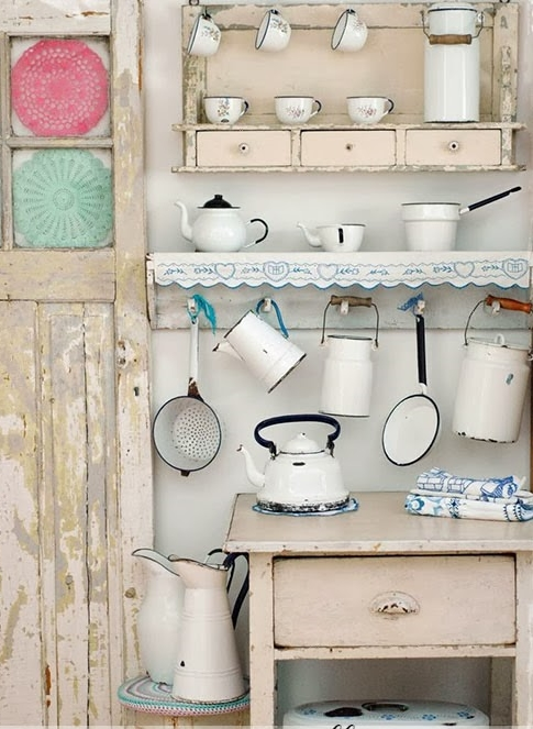 Adornos Baño Vintage:25 ideas para decorar con piezas esmaltadas /25 ideas to decorate with