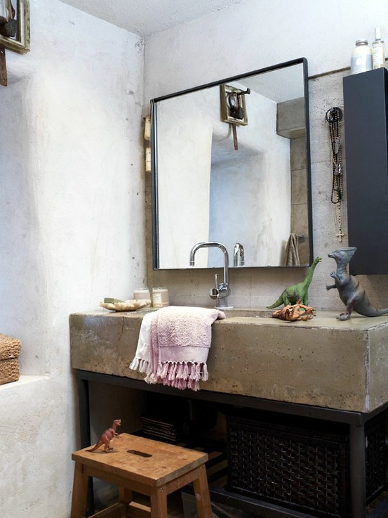 Baños Estilo Bohemio:Concrete Bathroom Sink