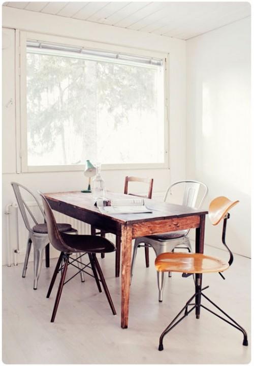 39 ideas para combinar diferentes estilos de sillas en el comedor ...