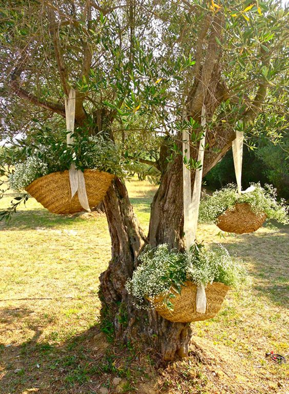 16 ideas para decorar con cestas una boda