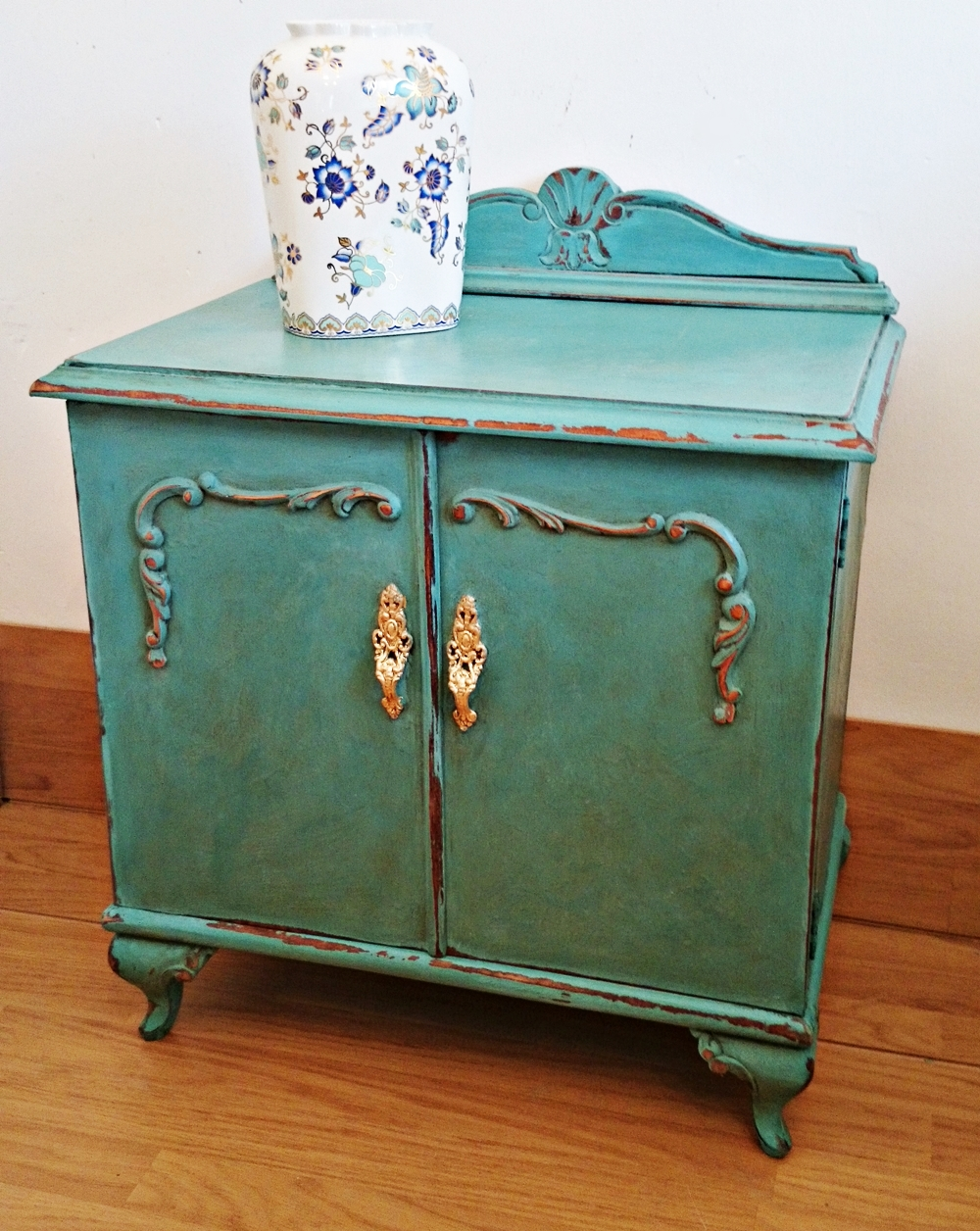 Mesita de noche vintage turquesa turquoise side table for Mesita noche vintage