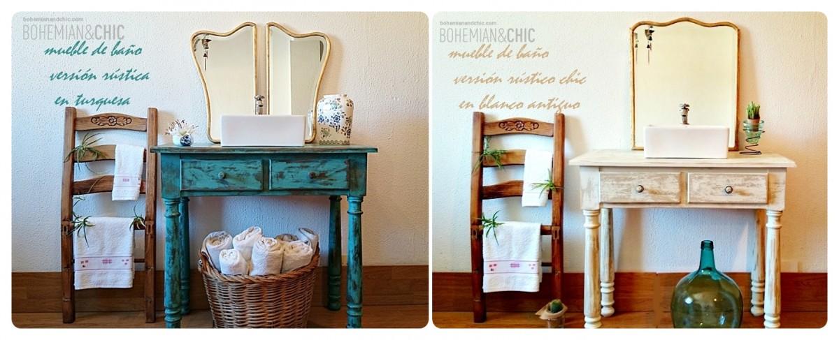 Mueble de ba o shabby chic artesanal tienda online de - Muebles con encanto online ...