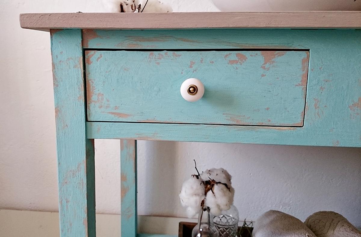 Mueble Baño Turquesa:Mueble de baño rústico chic en turquesa decapado