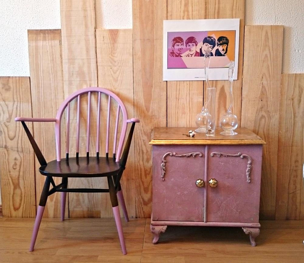 Silla vintage ercol en malva y madera bohemian and chic - Sillas vintage madera ...