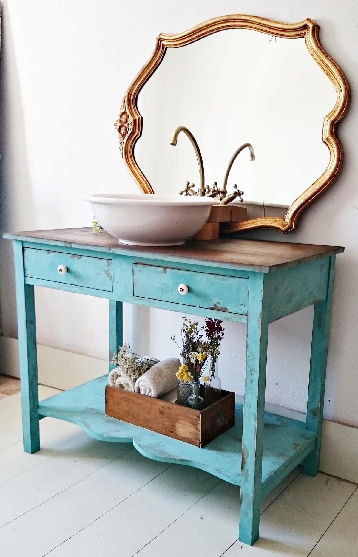 Mueble De Baño Turquesa : Mueble de ba?o grande en turquesa decapado tienda