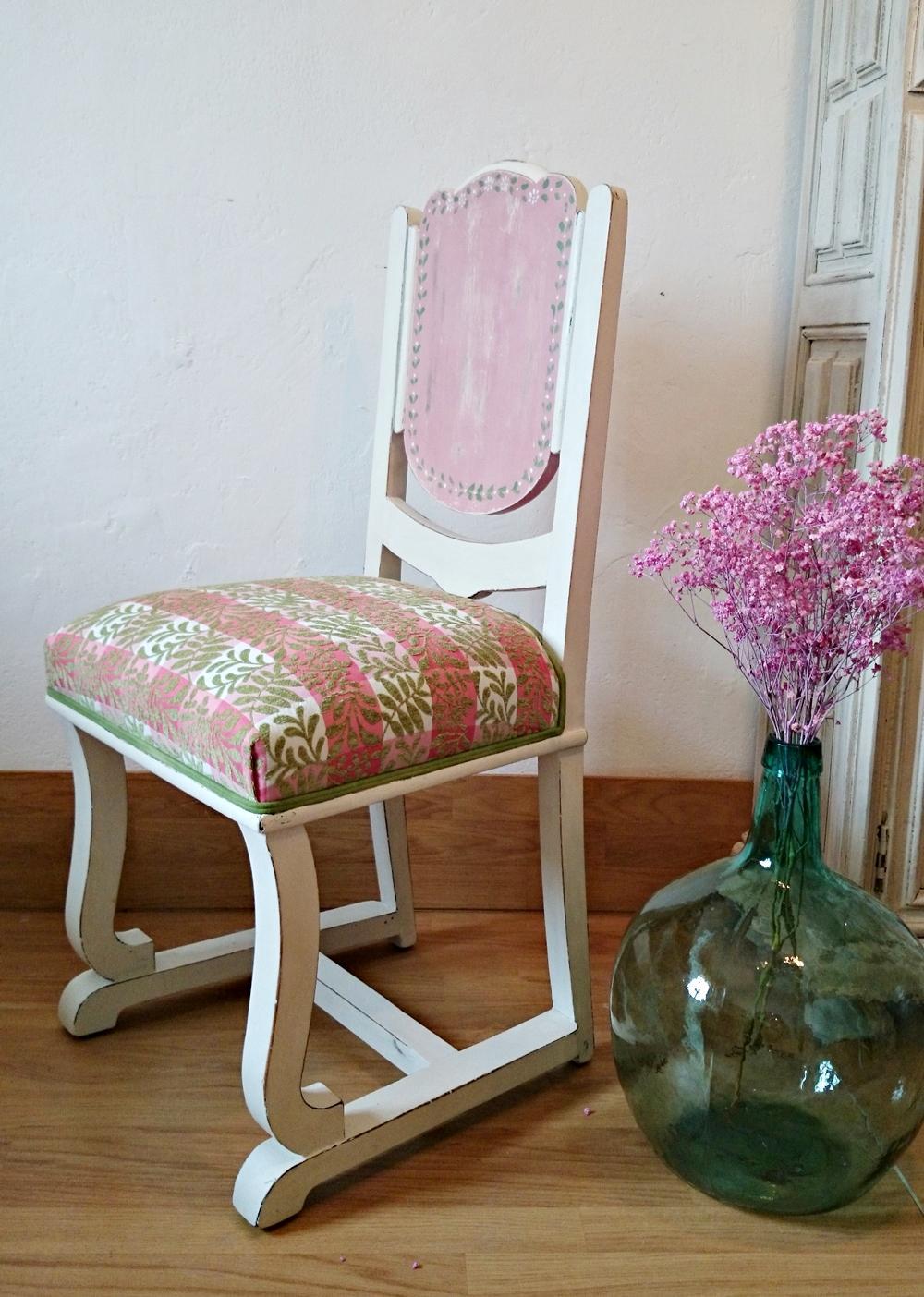 Antigua silla art decó en blaco y rosa   Tienda online de decoración ... bcf64ad3d042