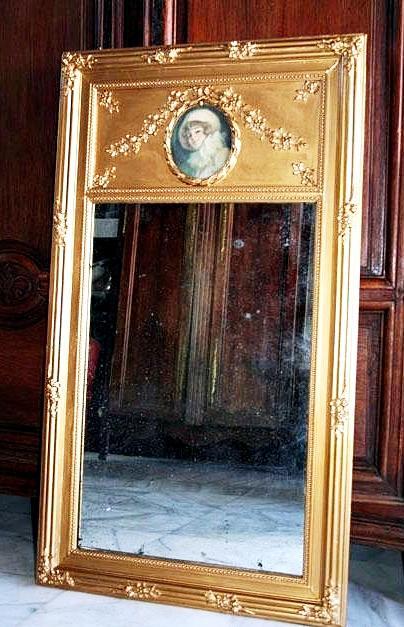 Antiguo espejo tumeau dorado tienda online de decoraci n for Espejo dorado