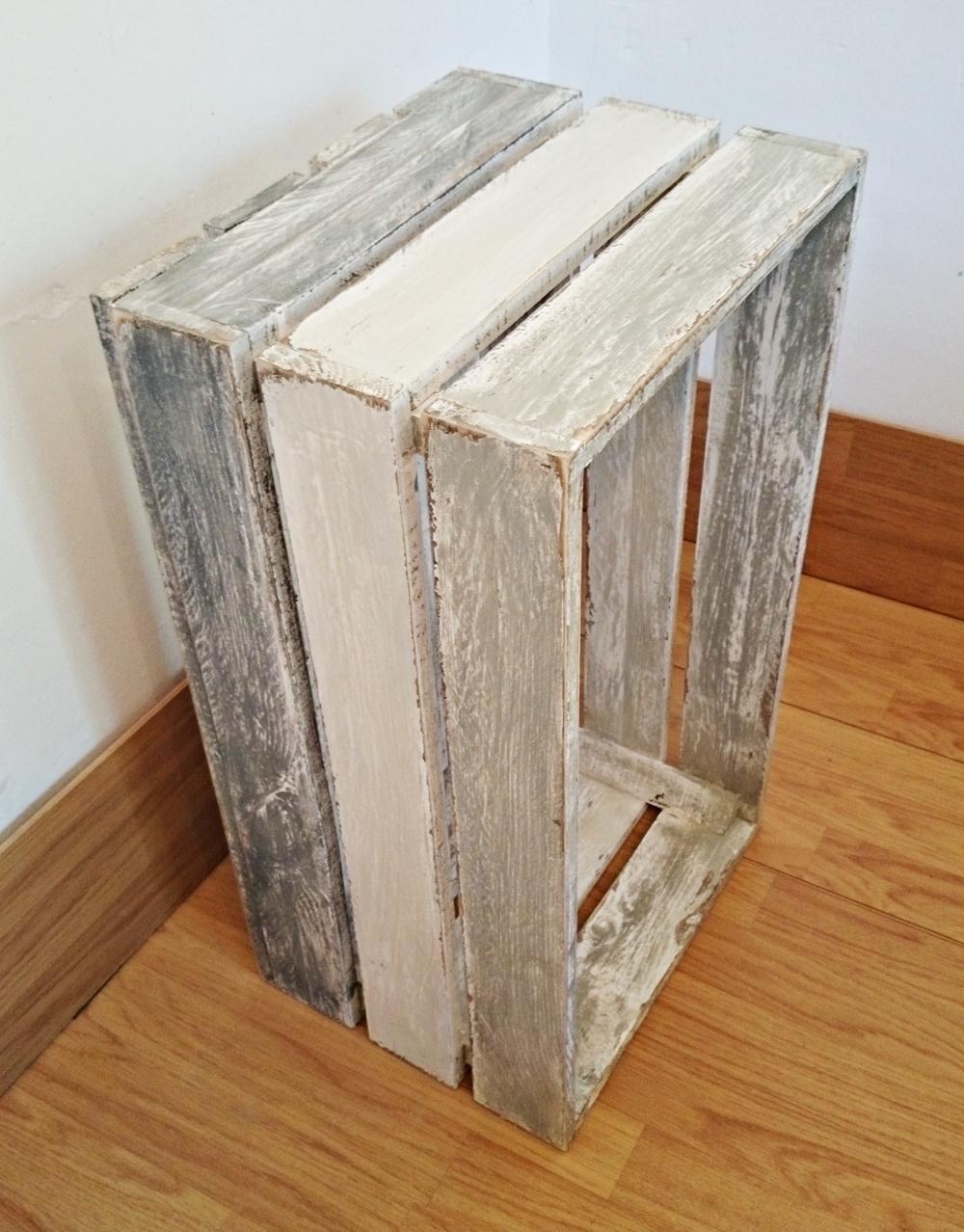 Caja de madera de tonos decapados tienda online de - Madera para pintar ...