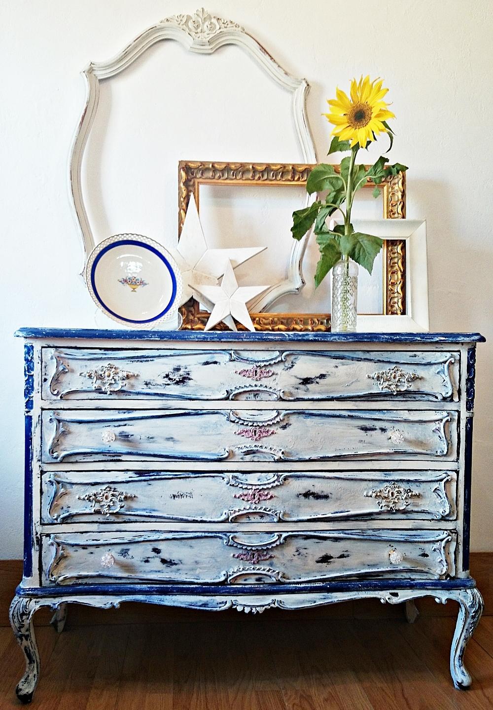 C moda vintage estilo luis xv en blanco y azul tienda - Muebles de entrada vintage ...