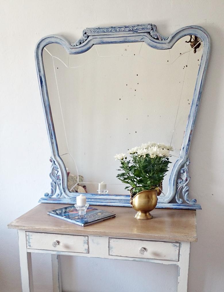Espejo Vintage En Blanco Y Azul Tienda Online De