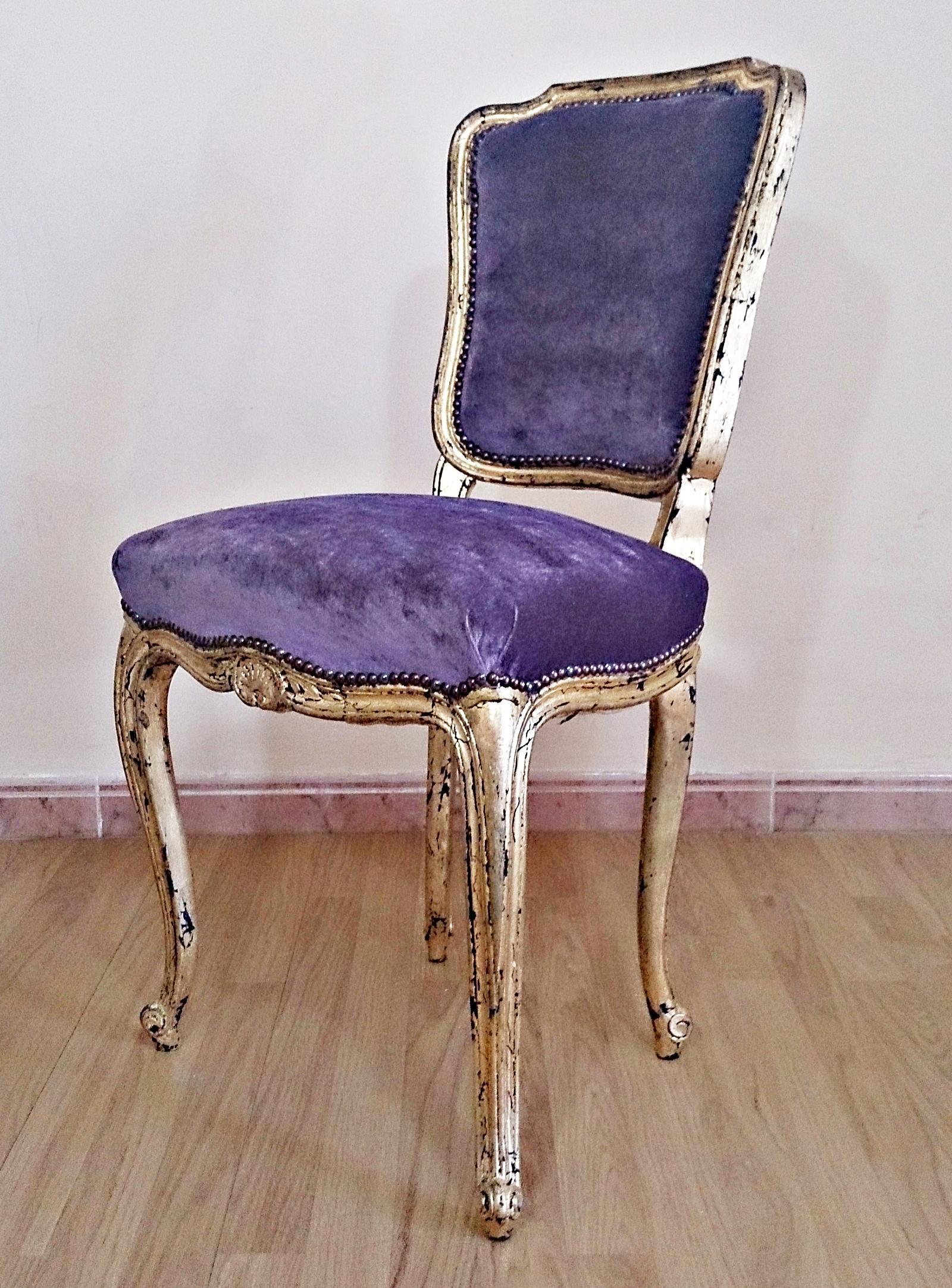 Silla vintage estilo luis xv oro y malva tienda online de decoraci n y muebles personalizados - Sillas estilo vintage ...
