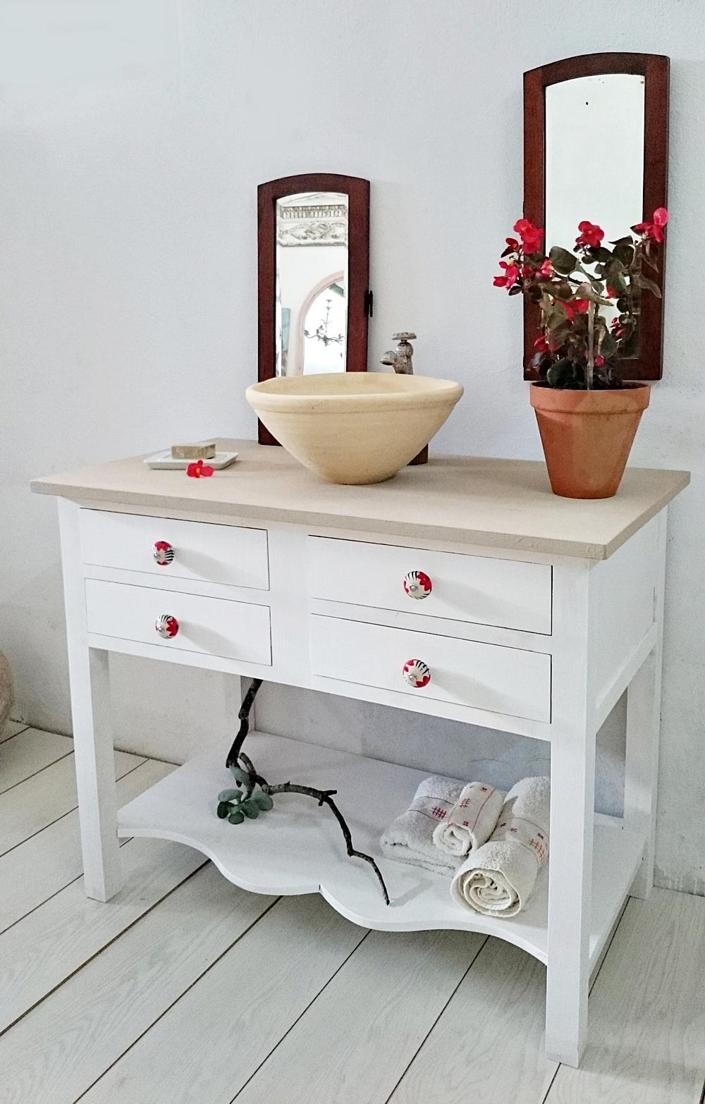 Mueble de ba o blanco decapado 4 cajones tienda online - Mueble blanco decapado ...