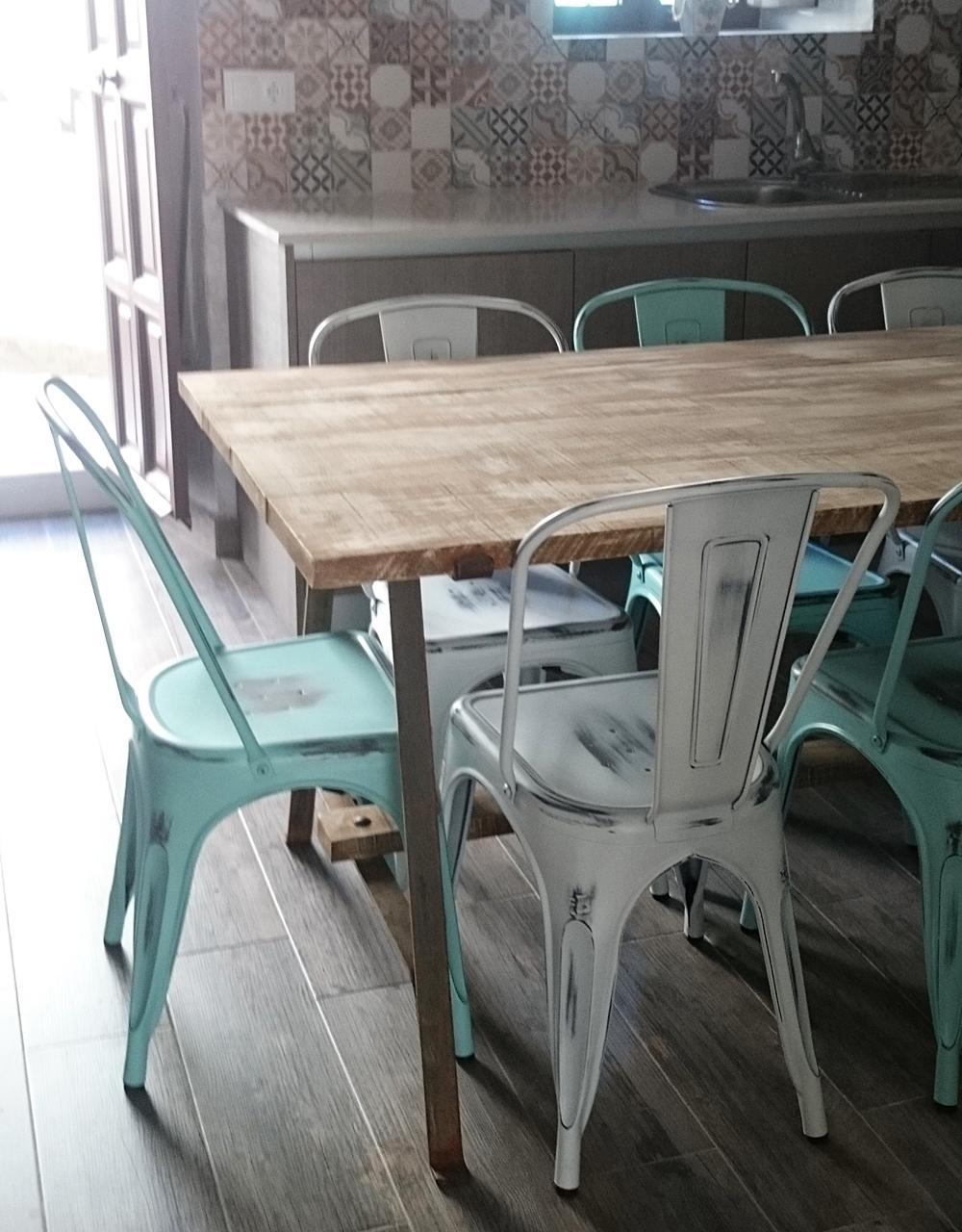 Mesa de comedor en madera y forja tienda online de - Mesas de comedor online ...