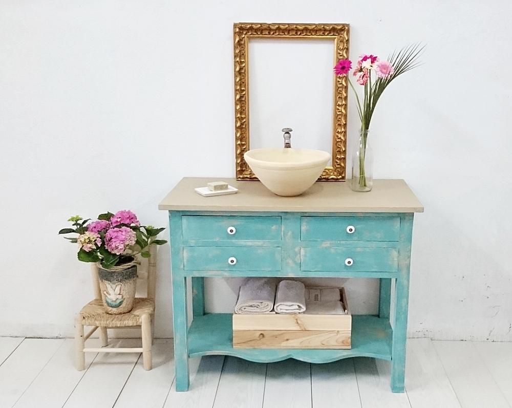 Mueble de ba o turquesa decapado 4 cajones tienda online - Mueble bano online ...