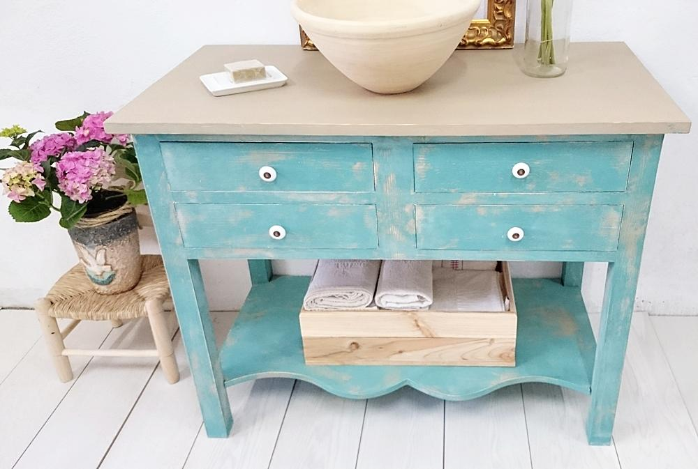 Mueble de ba o turquesa decapado 4 cajones tienda online - Banos turquesa y marron ...