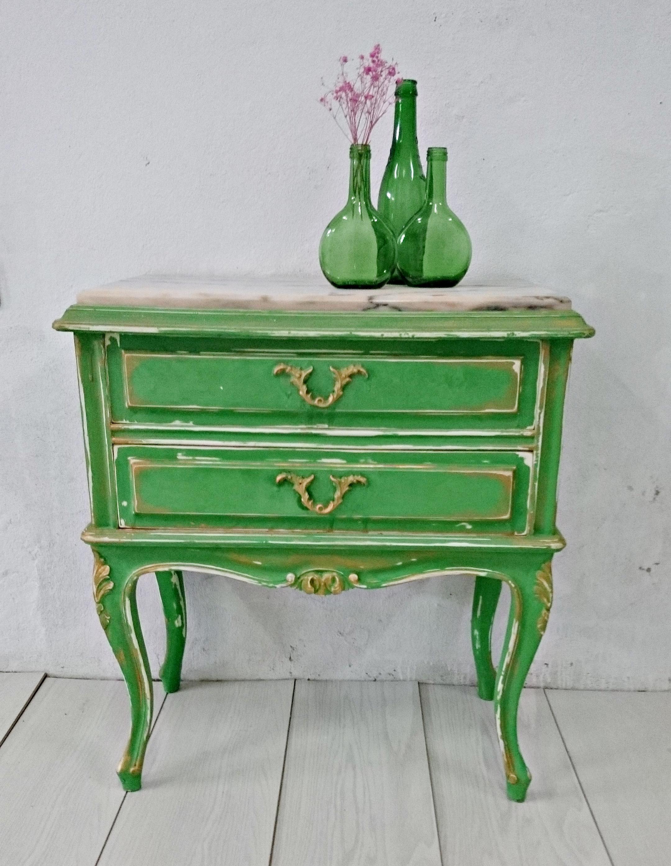 Mesita Noche Vintage En Verde Y Dorado Tienda Online De