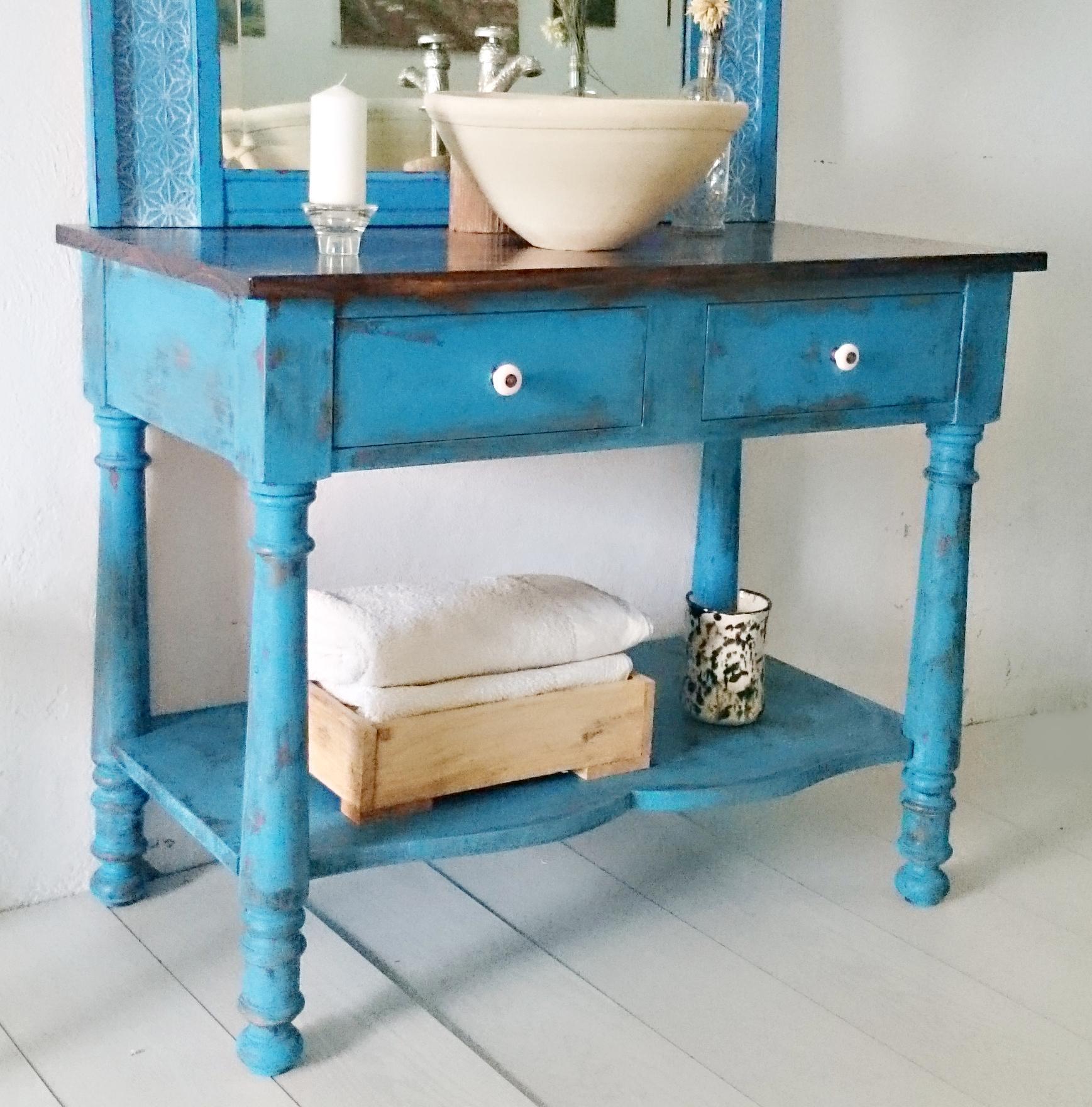 Mueble de ba o en azul decapado tienda online de for Muebles de bano azul