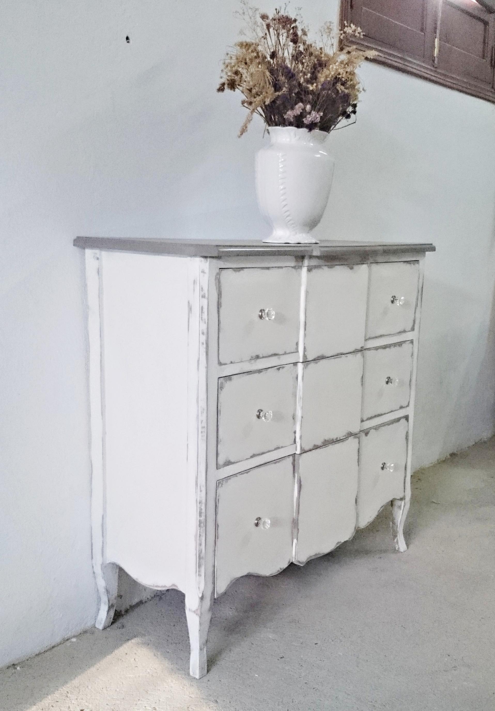 C moda shabby chic en blanco y gris decapado tienda - Muebles shabby chic online ...