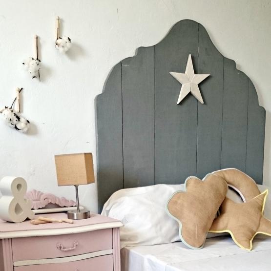 Cabecero individual gris estrella blanca tienda online de decoraci n y muebles personalizados for Cama individual blanca