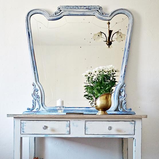 Espejo vintage en blanco y azul tienda online de decoraci n y muebles personalizados - Espejos vintage ...