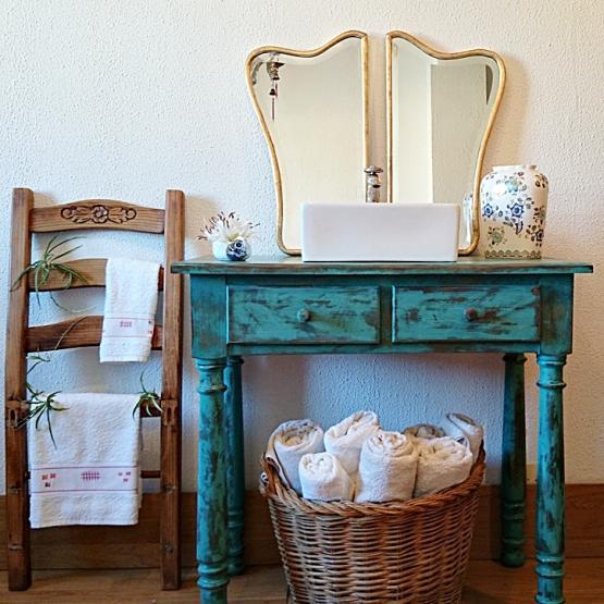 Mueble ba o r stico decapado en turquesa tienda online de decoraci n y muebles personalizados - Comprar mueble de bano online ...