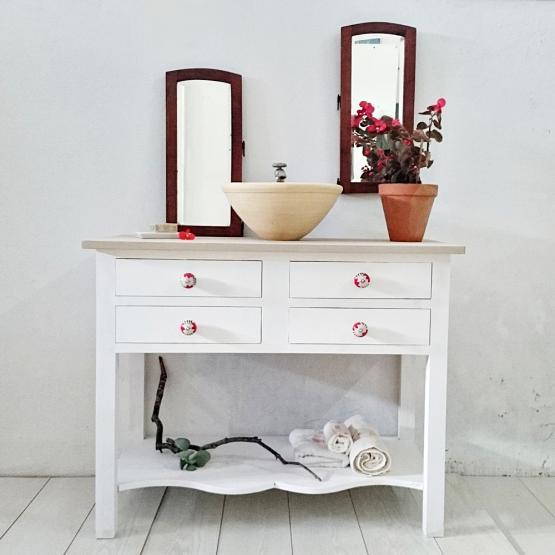 Mueble de ba o blanco decapado 4 cajones tienda online - Muebles blanco decapado ...