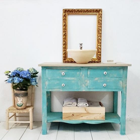 Mueble De Baño Turquesa : Mueble de ba?o turquesa decapado cajones tienda
