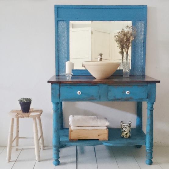 Mueble de ba o en azul decapado tienda online de - Decapado de muebles ...