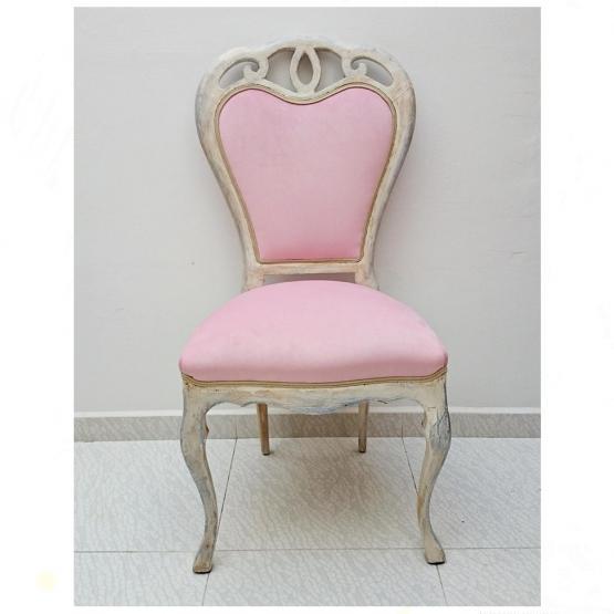 Silla vintage en blanco y terciopelo rosa tienda online for Muebles vintage on line