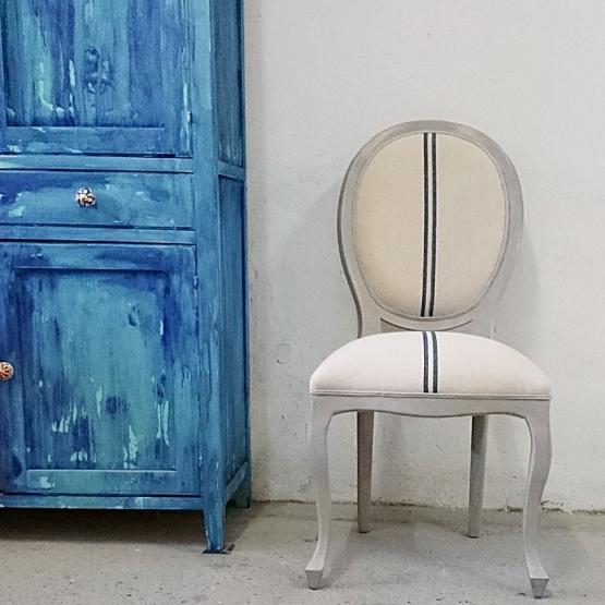 Silla estilo luis xv en gris decapado tienda online de - Silla estilo luis xv ...