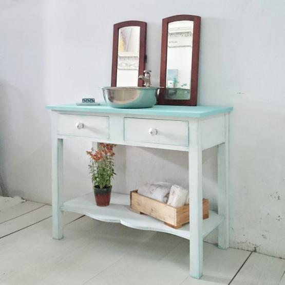 Mueble de ba o rustico chic en blanco y mint bohemian for Mueble bano rustico blanco